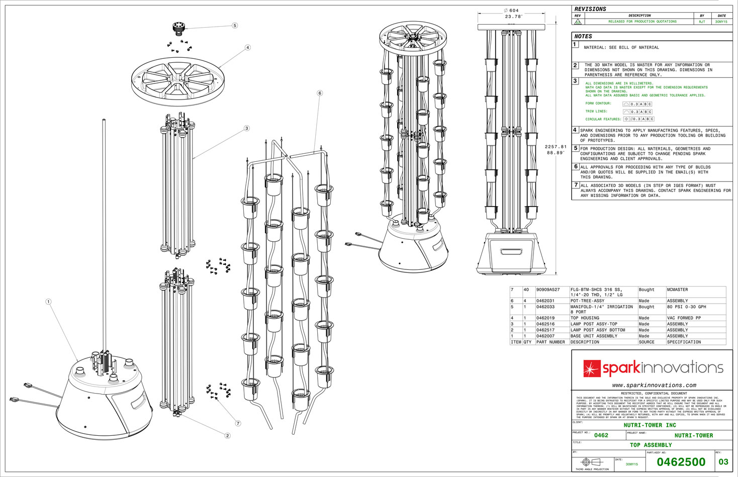 Nutri-Tower Top assembly mechanical drawings
