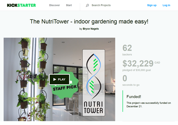 The NutriTower on Kickstarters