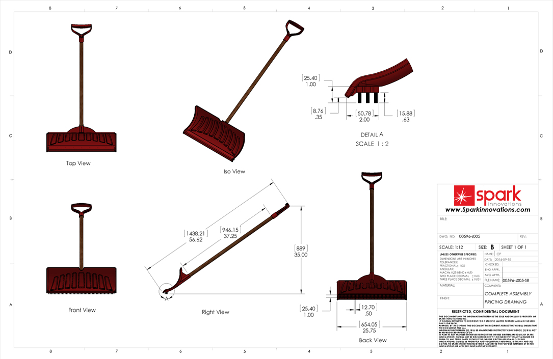 New Snow Shovel technical Drawings
