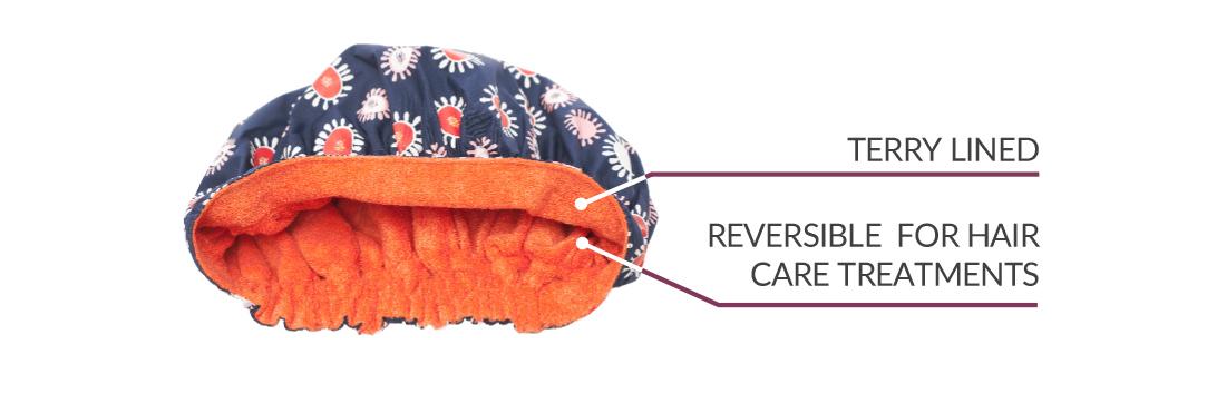 Tiara Shower Cap Reversible features