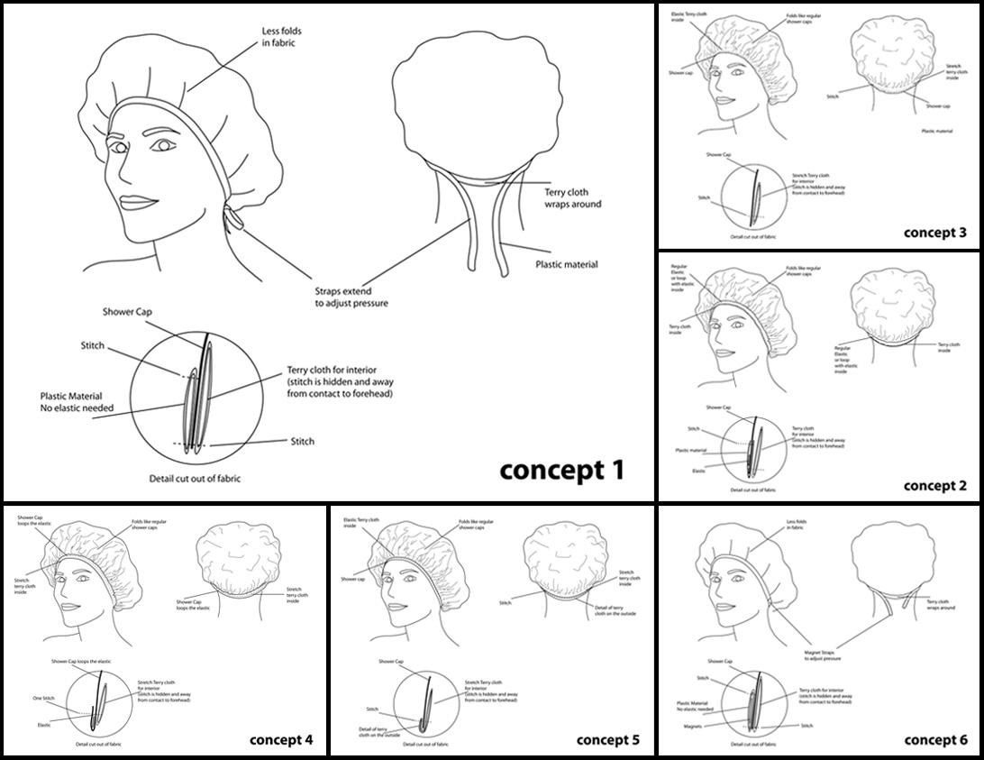Initial concepts Tiara Shower Cap