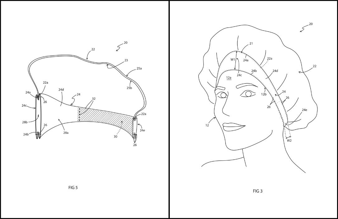 Tiara Shower Cap Patent Drawings
