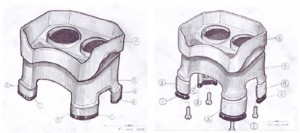 neater feeder, industrial design sketches, initial sketches