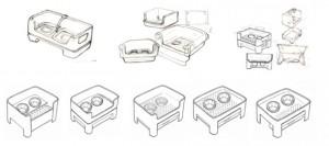 industrial design, pet feeder, sketches, Ideation, Product development ideas
