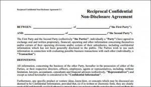 NDA, Non disclosure agreement