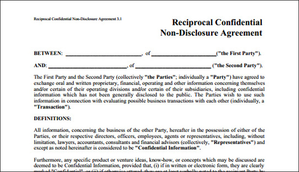 Reciprocal non-disclosure form Half