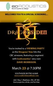 Viewing, Iso-Acoustics, Dragons den. show, Southside Bistro