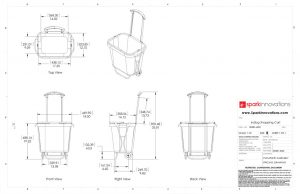 Indigo, Shopping cart, product design, CAD, line drawings