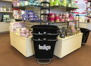 Indigo, Shopping cart, product design, in stores