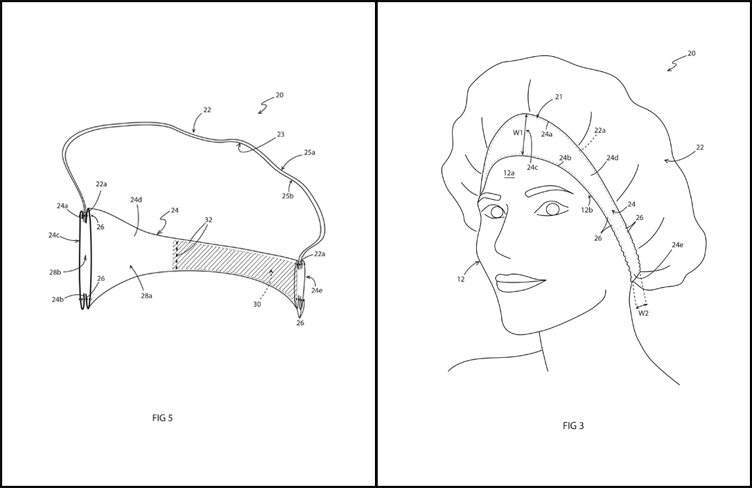 TIARA Shower Cap Patent Drawings