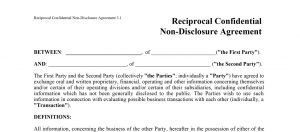 Two way Non Disclosure Agreement