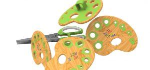 Innovative Herb Stripper & Herb Scissors Set rendering option with wood grain