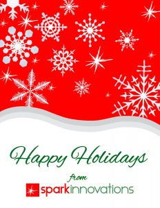 holiday card, happy holidays, merry Christmas, spark innovations, product development, product design, industrial design