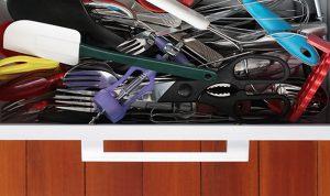 kitchen mess, kitchen solutions, kitchen organizer, adjustable, customizable, drawer organizer
