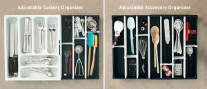 kitchen solutions, kitchen organizer, adjustable, customizable, drawer organizer