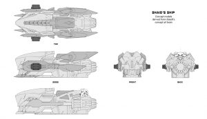 Nadir Ship, Technical Drawings, Startlink Battle for Atlas, Ubisoft, Ubisoft's modular starship toys development