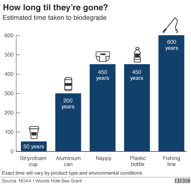Estimated time for plastic products to biodegrade