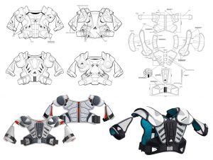 Lacrosse Shoulder Pads, design, development, industrial designers