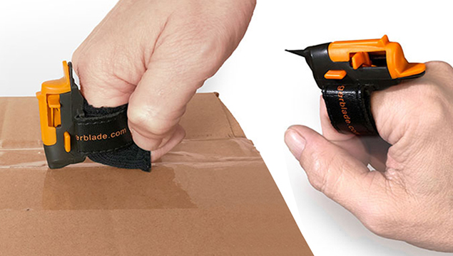 Finger Blade in use cutting open a box