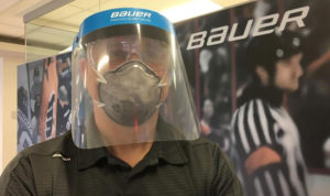 Bauer is now manufacturing single-use medical face shields